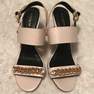 Coach nude heel sandal with gold chain